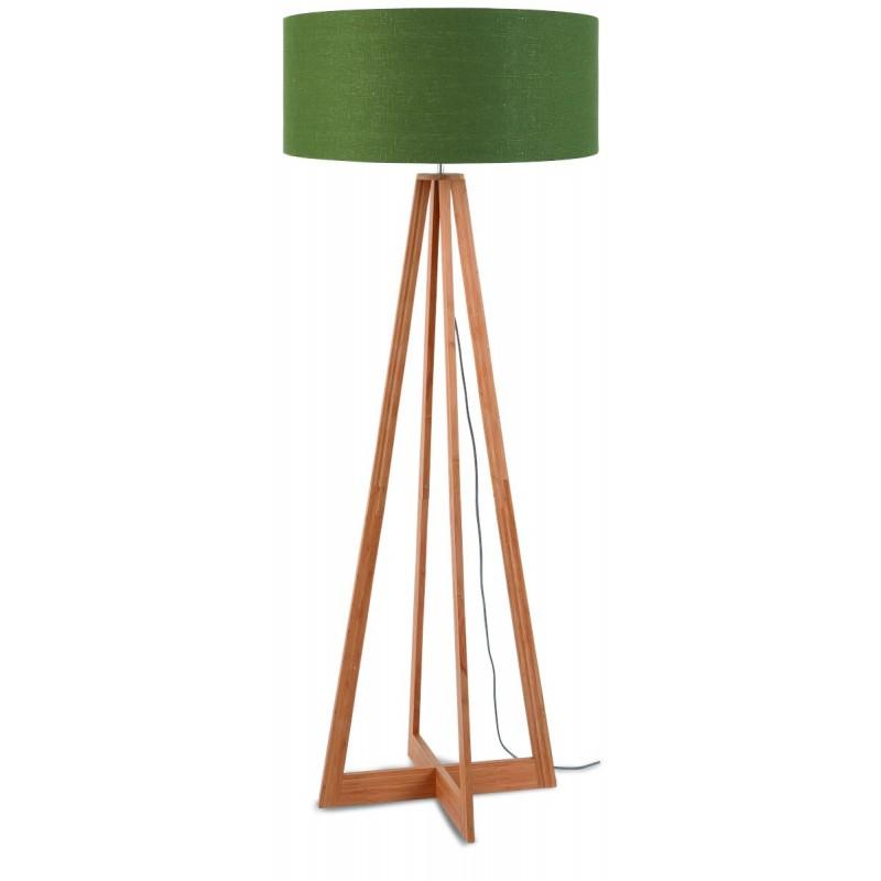 Lampe sur pied en bambou et abat-jour lin écologique EVEREST (naturel, vert foncé) - image 44560