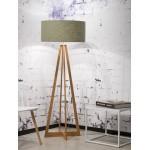 EverEST lampada verde in piedi e paralume di lino verde (naturale, verde scuro)