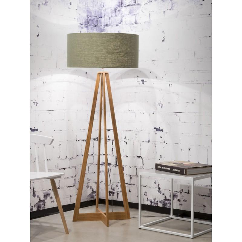 Lampe sur pied en bambou et abat-jour lin écologique EVEREST (naturel, vert foncé) - image 44561