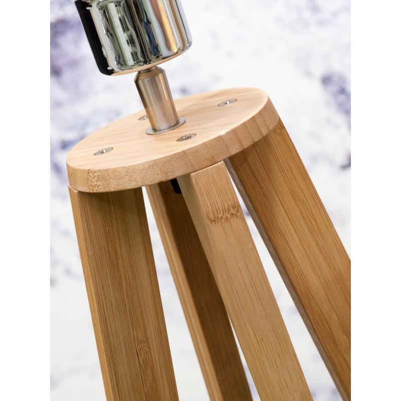 Lampe sur pied en bambou et abat-jour lin écologique EVEREST (naturel, vert foncé) - image 44563