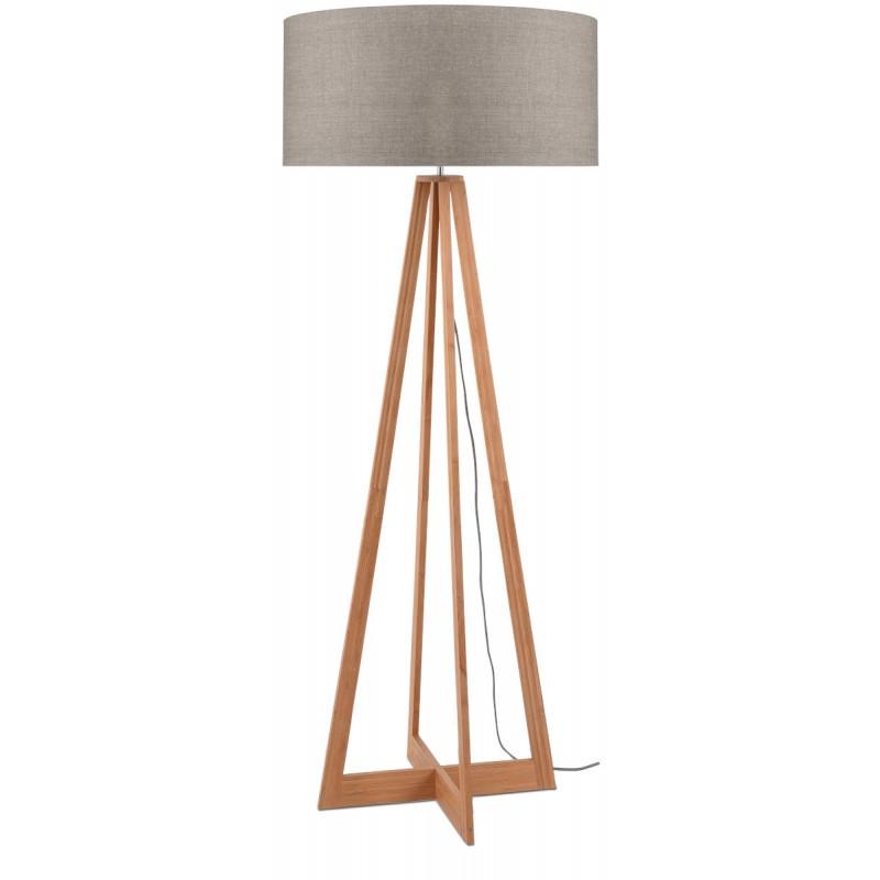 Lámpara de pie de bambú EverEST y pantalla de lino ecológico (natural, lino oscuro)