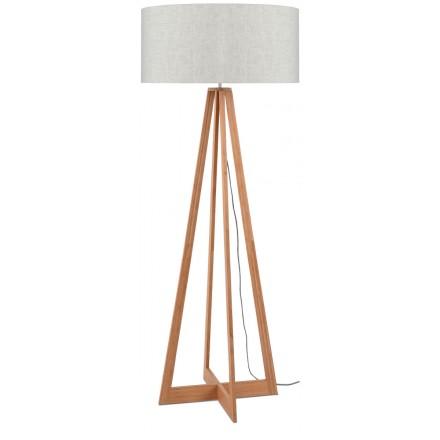 Lampe sur pied en bambou et abat-jour lin écologique EVEREST (naturel, lin clair)