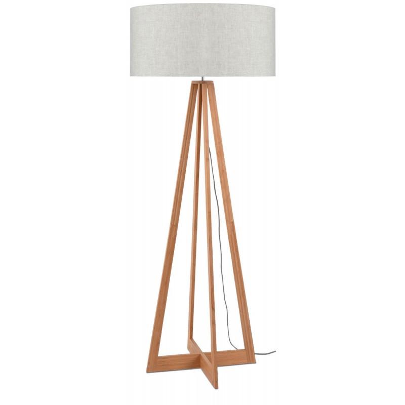 Lampe sur pied en bambou et abat-jour lin écologique EVEREST (naturel, lin clair) - image 44576
