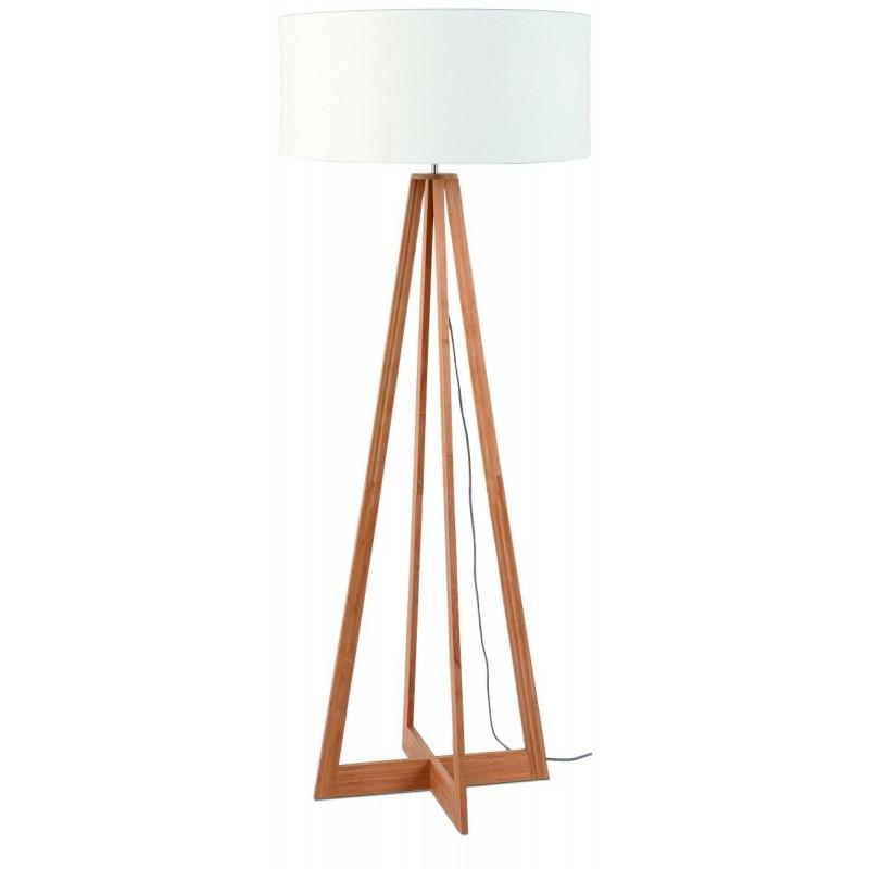 Lampada in legno in piedi in bambù e paralume di lino sempre più ecologico (naturale, bianco) - image 44581