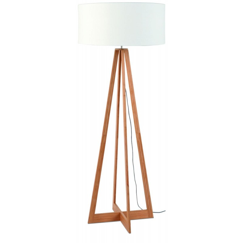Lampe sur pied en bambou et abat-jour lin écologique EVEREST (naturel, blanc) - image 44581