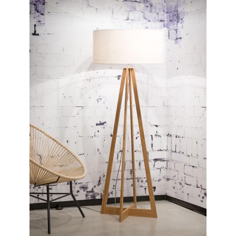 Lampada in legno in piedi in bambù e paralume di lino sempre più ecologico (naturale, bianco) - image 44583