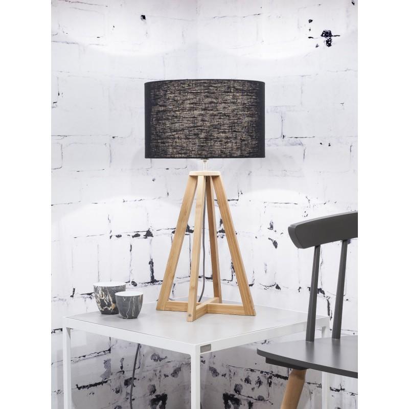 Lampe de table en bambou et abat-jour lin écologique EVEREST (naturel, noir) - image 44587