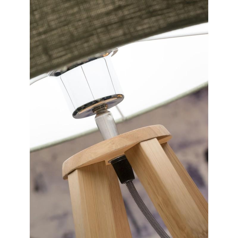 Lampe de table en bambou et abat-jour lin écologique EVEREST (naturel, noir) - image 44588