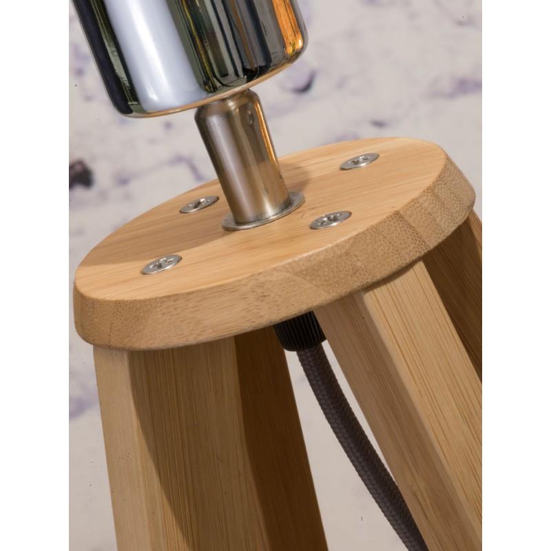 Lampe de table en bambou et abat-jour lin écologique EVEREST (naturel, noir) - image 44589