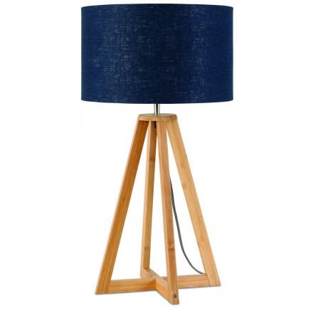Lampe de table en bambou et abat-jour lin écologique EVEREST (naturel, bleu jeans)