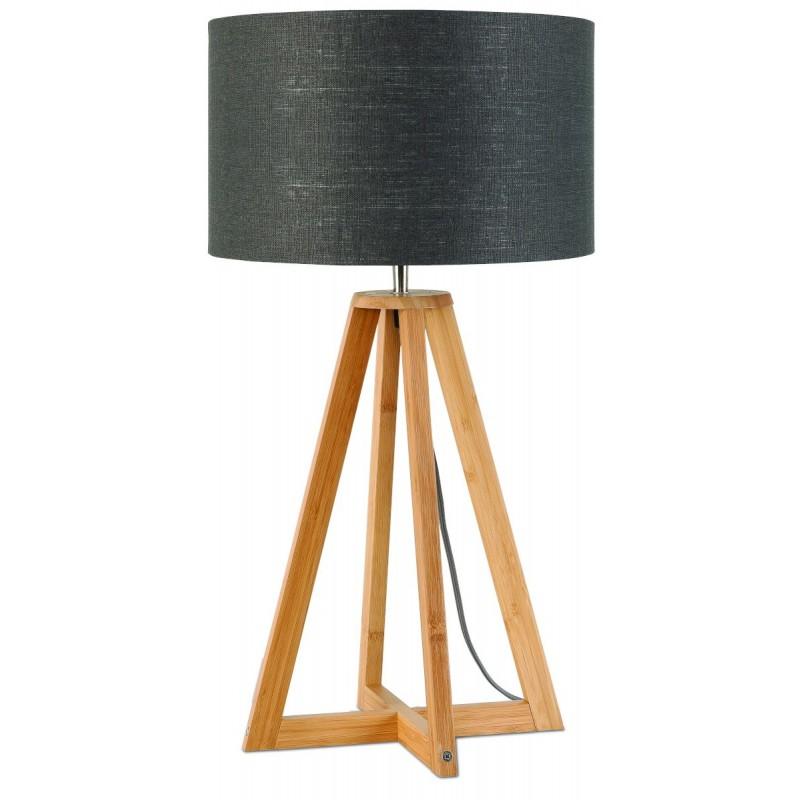 Lampe de table en bambou et abat-jour lin écologique EVEREST (naturel, gris foncé) - image 44596