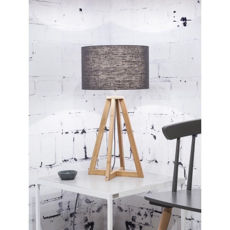 Lampe de table en bambou et abat-jour lin écologique EVEREST (naturel, gris foncé) - image 44597