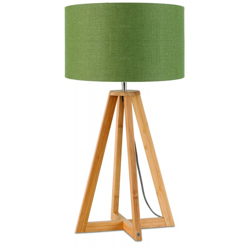Bamboo table lamp and everEST eco-friendly linen lamp (natural, dark green) - image 44601