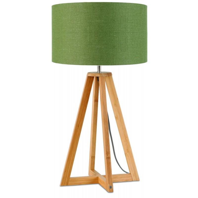 Lampe de table en bambou et abat-jour lin écologique EVEREST (naturel, vert foncé) - image 44601