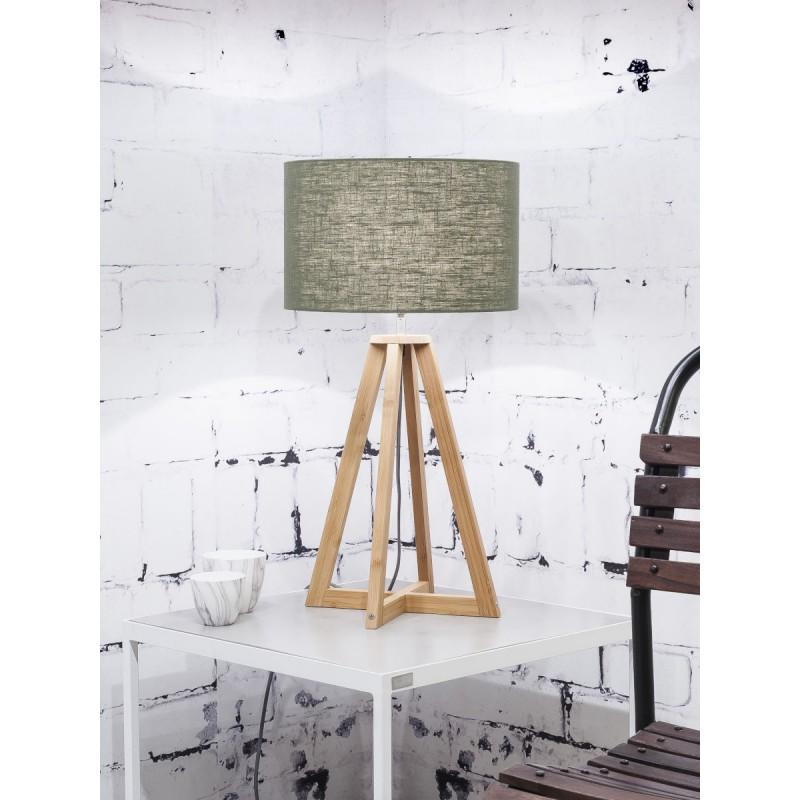Lampe de table en bambou et abat-jour lin écologique EVEREST (naturel, vert foncé) - image 44602