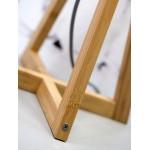 Lampe de table en bambou et abat-jour lin écologique EVEREST (naturel, vert foncé)