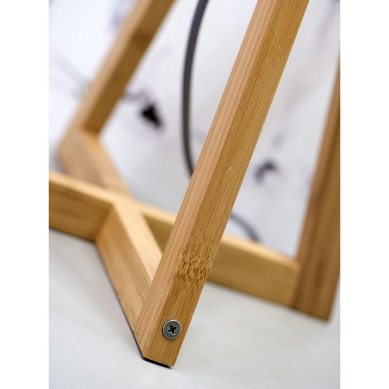 Bambus Tischleuchte und everEST umweltfreundliche Leinenlampe (natürlich, dunkelgrün) - image 44605