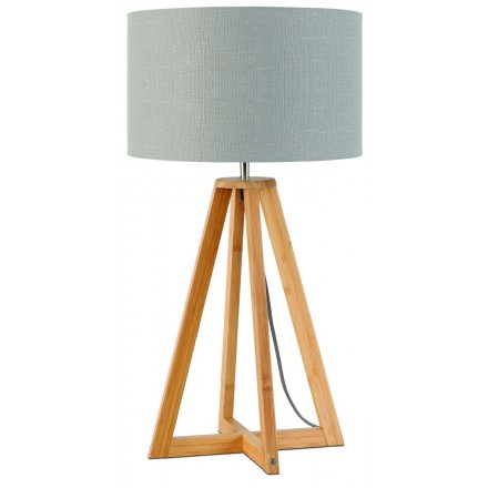 Bamboo table lamp and EVEREST eco-friendly linen lamp (natural, light grey)