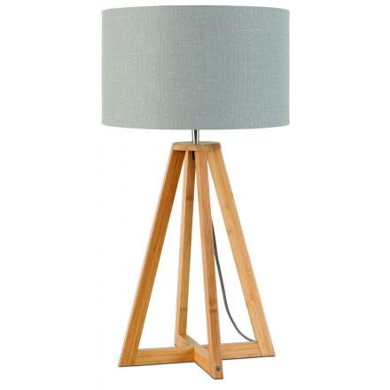 Lampada da tavolo Bamboo e lampada di lino eco-friendly EVEREST (naturale, grigio chiaro)