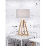 Lampe de table en bambou et abat-jour lin écologique EVEREST (naturel, gris clair)