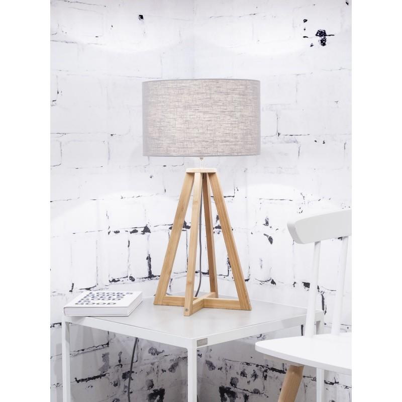Lampe de table en bambou et abat-jour lin écologique EVEREST (naturel, gris clair) - image 44612