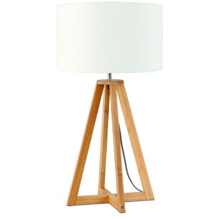 Lampada da tavolo Bamboo e paralume per lino sempre più ecologico (naturale, bianco)