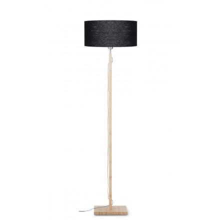Bamboo standing lamp and FUJI eco-friendly linen lampshade (natural, black)
