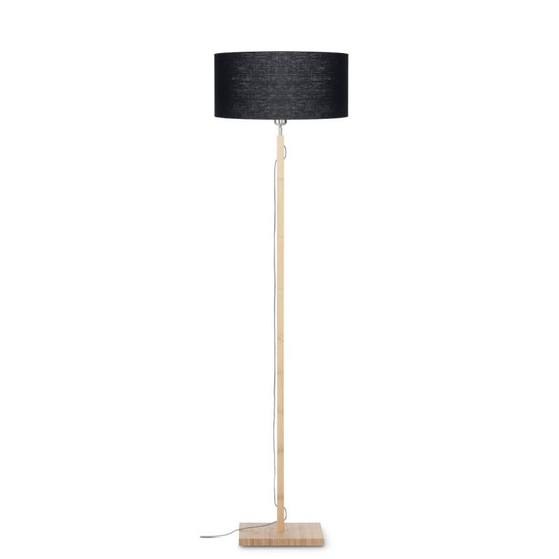 Lampe sur pied en bambou et abat-jour lin écologique FUJI (naturel, noir)