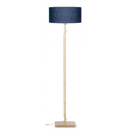 Bamboo standing lamp and FUJI eco-friendly linen lampshade (natural, blue jeans)
