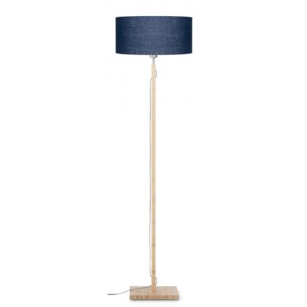 Lampe sur pied en bambou et abat-jour lin écologique FUJI (naturel, bleu jeans)