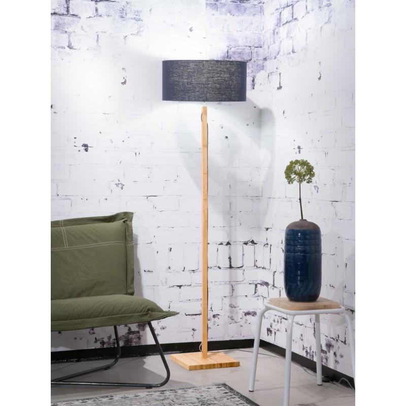 Lampe sur pied en bambou et abat-jour lin écologique FUJI (naturel, bleu jeans) - image 44632