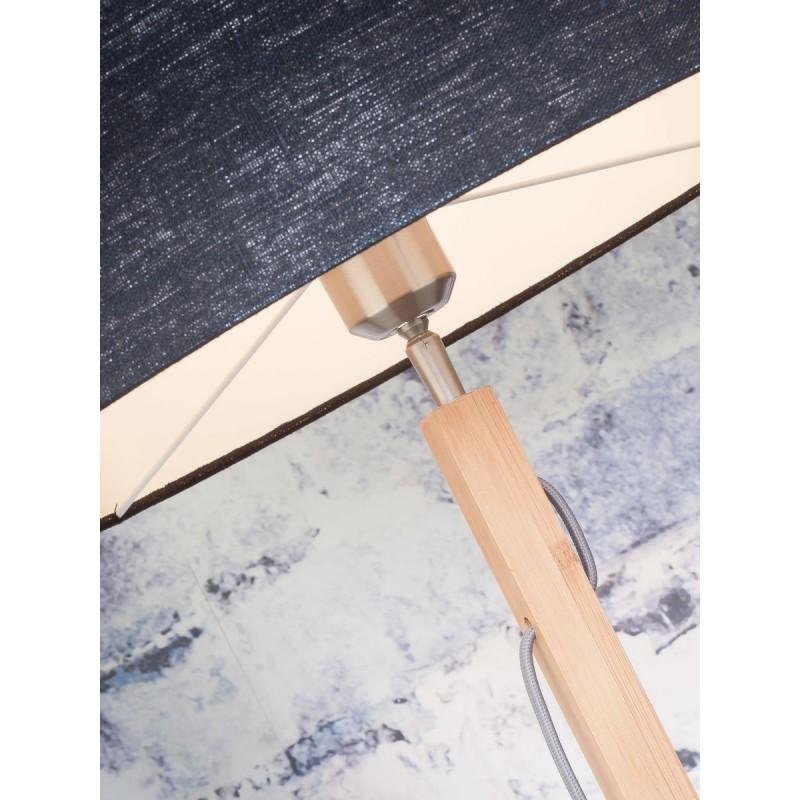 Lampada in legno in piedi di bambù e paralume di lino eco-friendly FUJI (natural, blue jeans) - image 44634