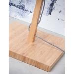 Lampada in legno in legno Fuji in bambù e paralume di lino eco-friendly (naturale, grigio scuro)