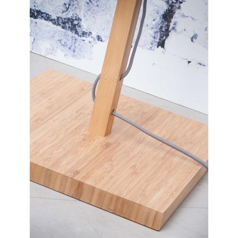 Lampada in legno in legno Fuji in bambù e paralume di lino eco-friendly (naturale, grigio scuro) - image 44638