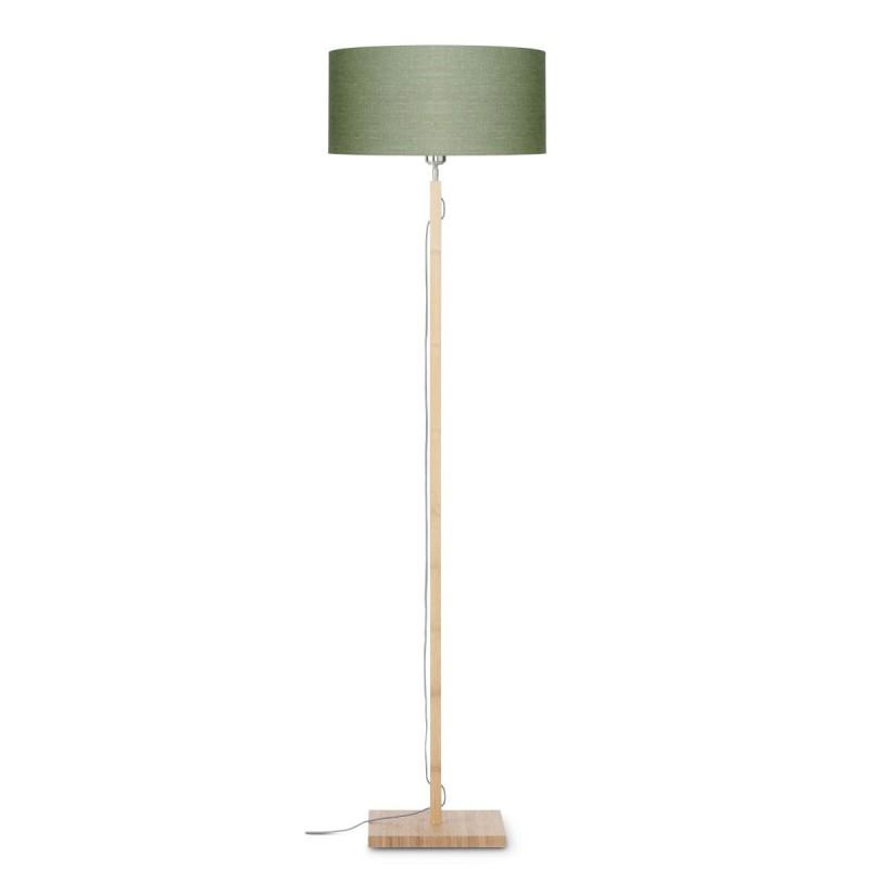 Lampe sur pied en bambou et abat-jour lin écologique FUJI (naturel, vert foncé) - image 44641