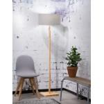 Lámpara de pie de bambú y pantalla de lino ecológica FUJI (natural, gris claro)