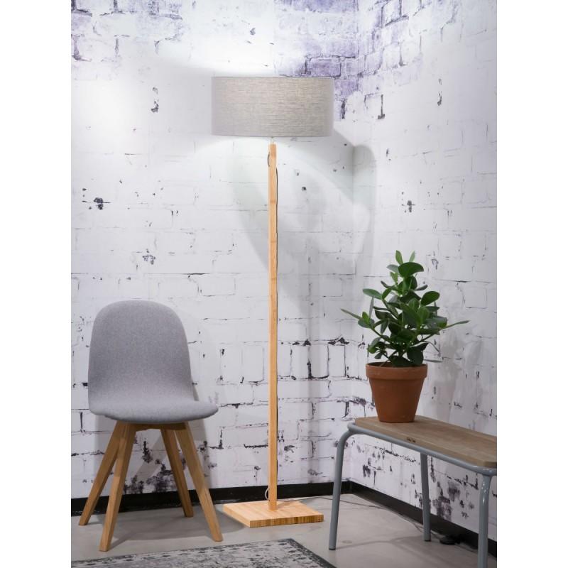 Lampe sur pied en bambou et abat-jour lin écologique FUJI (naturel, gris clair) - image 44652