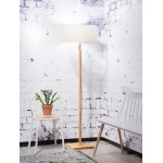 Bamboo standing lamp and FUJI eco-friendly linen lampshade (natural, light linen)