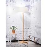 Lampe sur pied en bambou et abat-jour lin écologique FUJI (naturel, lin clair)