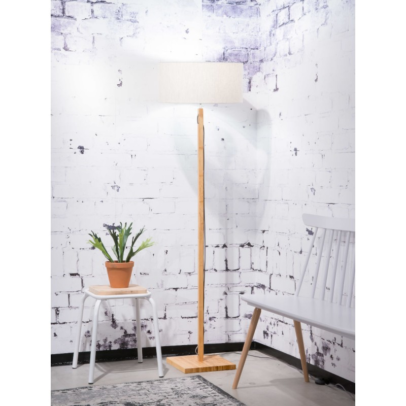 Bamboo standing lamp and FUJI eco-friendly linen lampshade (natural, light linen) - image 44657