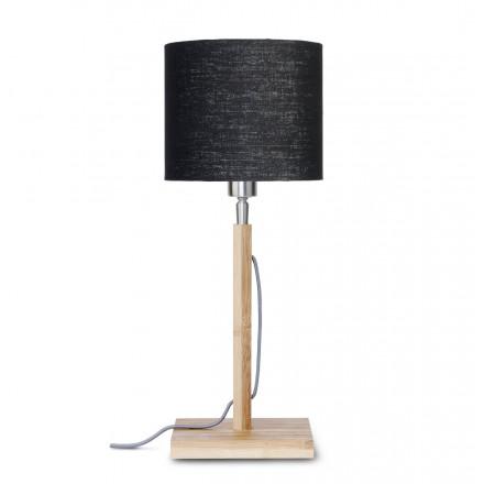 Bambus Tischlampe und FUJI umweltfreundliche Leinen Lampenschirm (natürlich, schwarz)
