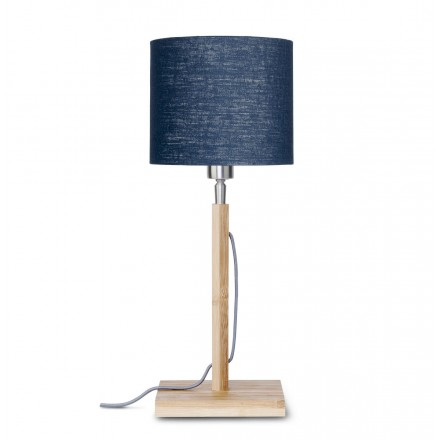 Bamboo table lamp and FUJI eco-friendly linen lampshade (natural, blue jeans)