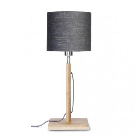 Bamboo table lamp and FUJI eco-friendly linen lampshade (natural, dark grey)