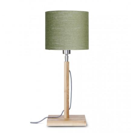 Lampada da tavolo Bamboo e paralume di lino eco-friendly FUJI (naturale, verde scuro)
