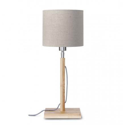 Lámpara de mesa de bambú y lámpara de lino ecológica FUJI (natural, lino oscuro)