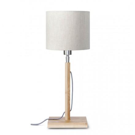 Lámpara de mesa de bambú y pantalla de lino ecológica FUJI (natural, lino ligero)