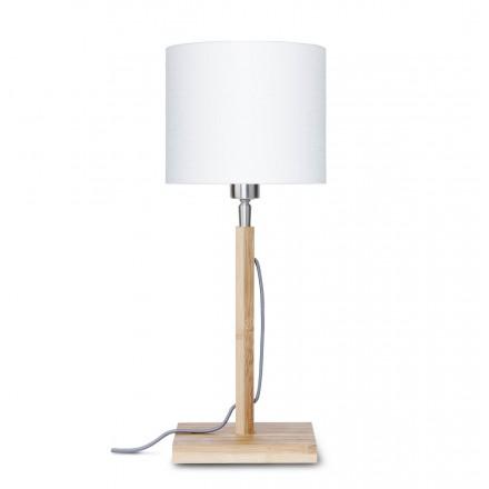 Bamboo table lamp and FUJI eco-friendly linen lampshade (natural, white)