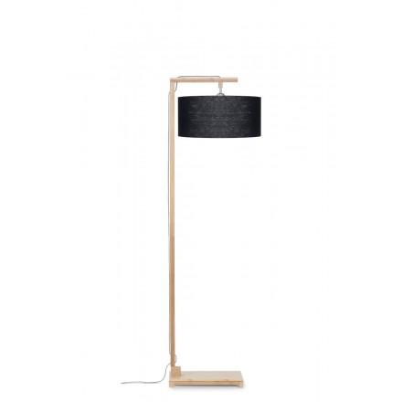 Lampada in legno in piedi e paralume di lino ecologico himalaya (naturale, nero)