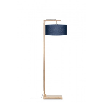 Bamboo standing lamp and himalaya ecological linen lampshade (natural, blue jeans)