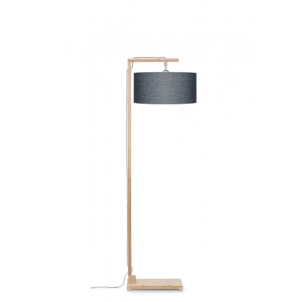 Bambus Stehlampe und Himalaya ökologische Leinen Lampenschirm (natürlich, dunkelgrau)